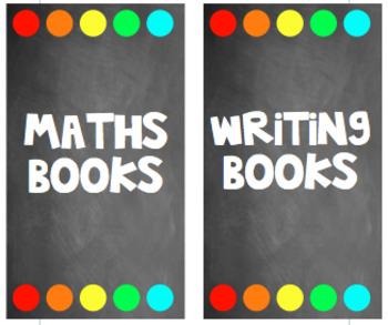 Magazine Labels chalkboard theme with rainbow {Editable}