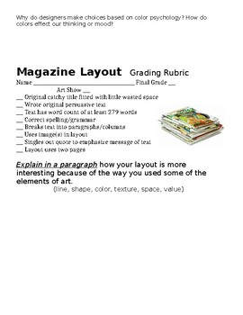 Magazine Layout Art Lesson Papers