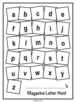 Magazine Letter Hunt Worksheets, Literacy Center