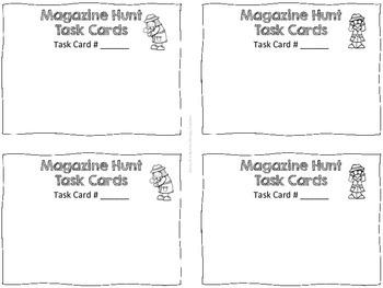Magazine Scavenger Hunt Task Cards