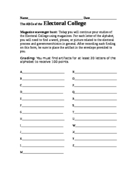 Magazine scavenger hunt: The ABCs of the Electoral College