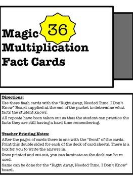Magic 36 Multiplication Practice Set