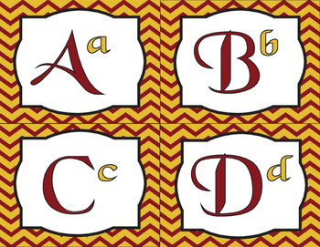Back to school Harry Potter inspired Chevron Letters Gold and Scarlet (Alphabet)