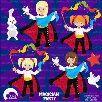Magic Clipart, Birthday Clipart, Girl Magician Clip art, Vectors, AMB-1192