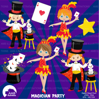 Magic Clipart, Birthday Clipart, Girl Magician Clip art, V