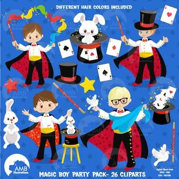 Magic Clipart, Birthday Clipart, Boy Magician Clip art, Vectors, AMB-1268