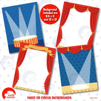 Magic Clipart, Magic show scenery, Circus background, Circus paper, AMB-1269