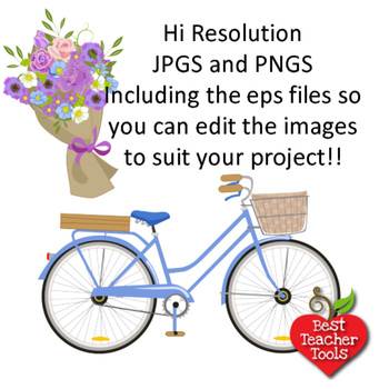 Bicycle clipart, Bicycle and Flowers, Shabby chic clipart, AMB-1351