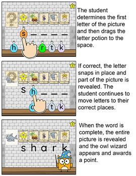 Magic Digraphs Game - Beginning & Ending Digraphs Word Building Digital Game