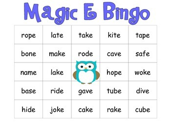 Magic E BINGO- Owl Theme!