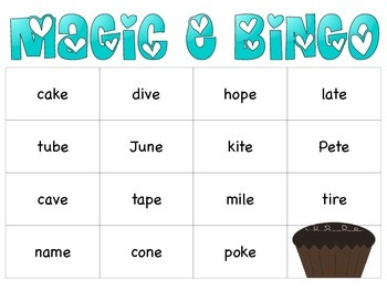 Magic E Bingo Game!  Cupcake Theme!