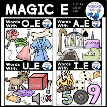 Magic E Bundle Clip Art BUNDLE - Whimsy Workshop Teaching