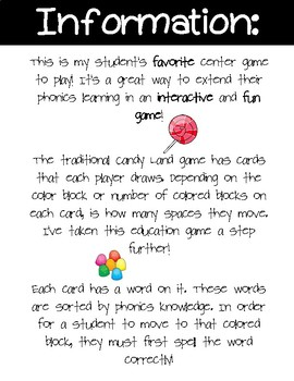 Magic E Candy Land Cards