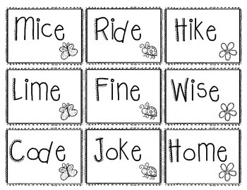 Magic E Card Game, Silent E Card Game