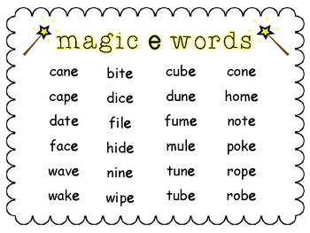CVCe Magic E Chart
