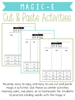 Magic E Cut and Paste Activities