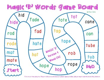 Magic E Words Game Boards (Silent E/ Long Vowel Words)