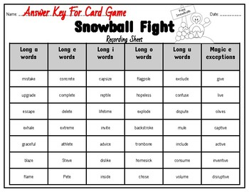 Magic E Game With Multisyllabic Words