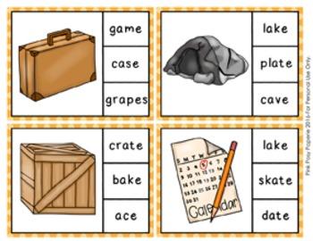 Magic E Long A Words Clip Cards