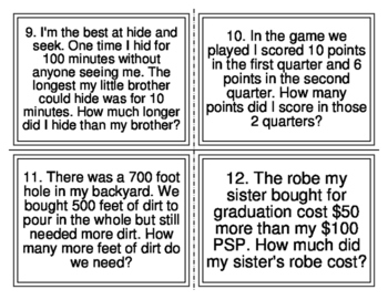 Magic E Mixed Addition Subtraction Word Problem Task Cards (20 Cards)