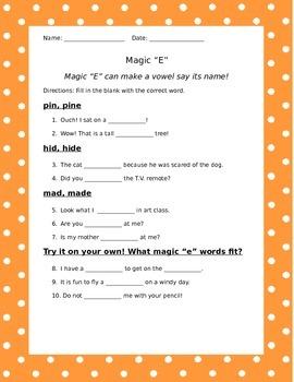 "Magic ""E"" Practice Sheet"