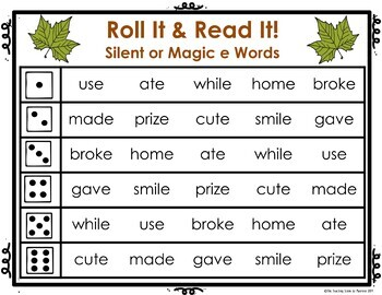Magic E:  Read and Roll It Games