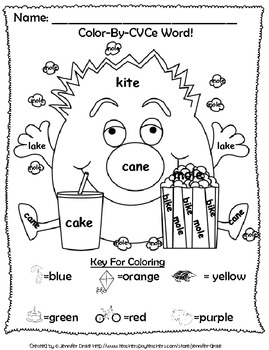 Magic E Reading & Fun ~Color By CVCe Word~ A Phonics Approach to Color-By-Number