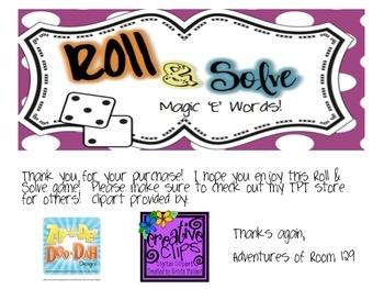 Magic E Roll & Solve Game