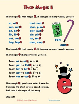 """That Magic E:"" A song about the silent e that makes short vowels long"