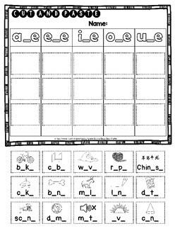 Magic E Sorts: a_e, e_e, i_e, o_e, u_e | Cut and Paste Worksheets