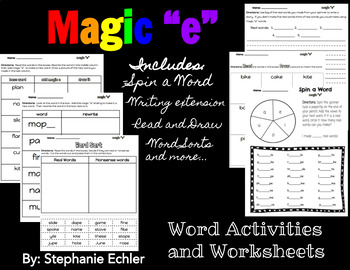 Magic E Word Activities and Worksheets