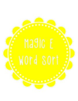 Magic E Word Sort