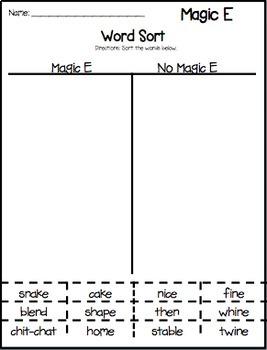 Magic E (CVCE) Word Work