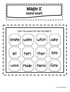 Magic E Word Work - Interactive Phonics Notebook