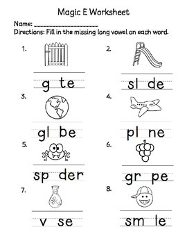 Magic E Worksheets 1201139 on Letter N Words Worksheets