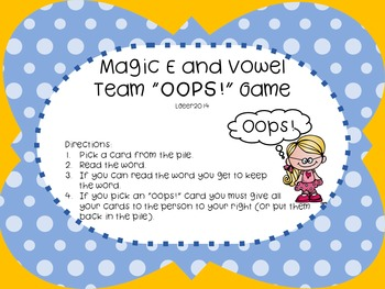 """Magic E and Vowel Team """"Oops"""""""