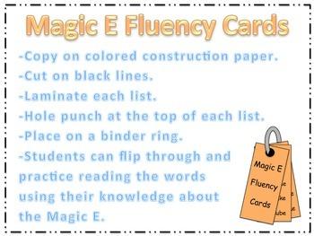 Magic E fluency Cards (CVCe)