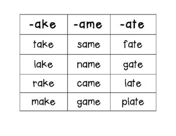Magic E (long a) Word Sort