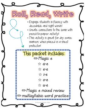 Magic E phonics bundle! Read, Roll Write