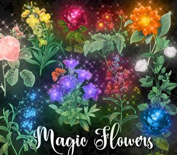 Magic Flower Clipart, enchanted rose png clip art, vintage flower illustrations