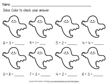 Magic Ghostly Halloween Addition Practice Pages
