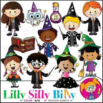 Magic Kids. Clipart. BLACK AND WHITE & Color Bundle. {Lilly Silly Billy}