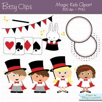 Magic Kids Digital Art Set Clipart Commercial Use Clip Art Magician Clipart