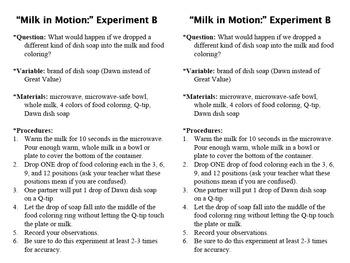 Magic Milk Experiment Write-Up Sheets
