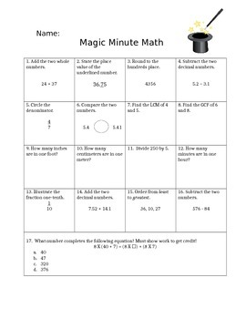 Magic Minute Math Week 1