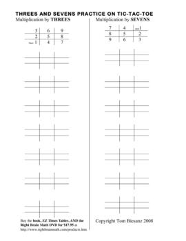 Magic Multiplication: Threes & Sevens with tic-tac-toe EZ Times Table