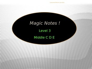 Magic Notes Level 3 Middle C D E.  A Music Reading Program