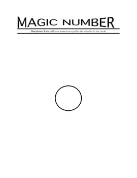 Magic Number Math Station Activity