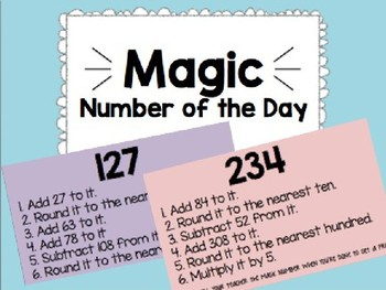 Magic Number of the Day 3rd Grade