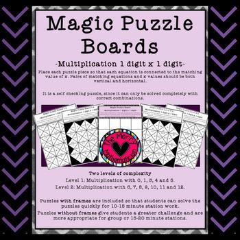 Magic Puzzle Boards-Multiplication Practice (Factors 0-12)